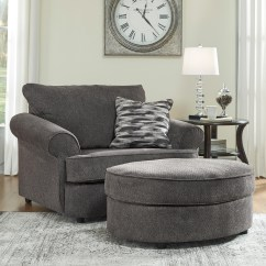 Grey Oversized Chair With Ottoman Rolling Bar Stool Chairs And A Half Oval In Gray Fabric By