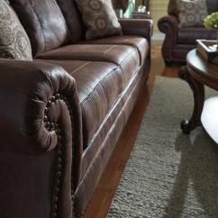 Leather Sleeper Sofa With Nailheads Best Replacement Mattress For Bed Faux Queen Rolled Arms And