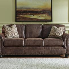 Leather Sleeper Sofa With Nailheads Rattan Furniture Uk Faux Queen Rolled Arms And