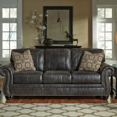 Nailhead Trim Sofa Ashley Martha Stewart Saybridge Granite Faux Leather With Rolled Arms And By