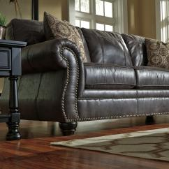 Rolled Arm Sofa With Nailhead Trim E Colchoes Sp Faux Leather Queen Sleeper Arms And