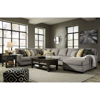 Contemporary 4-Piece Sectional with Chaise & Armless Sofa ...