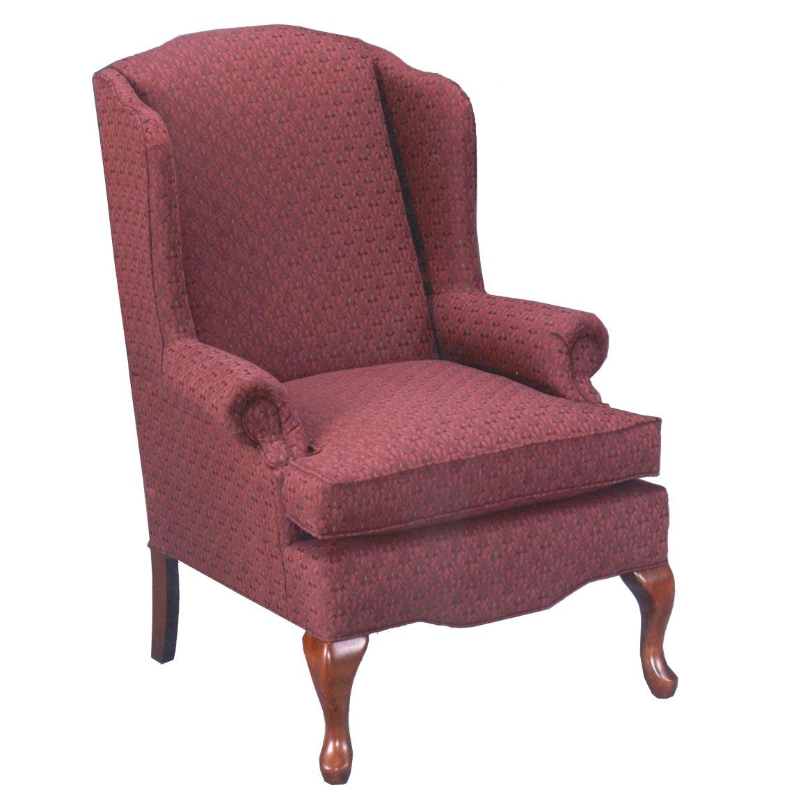 queen anne wing chair white wishbone replica low back loveseat milano blue leather power plus