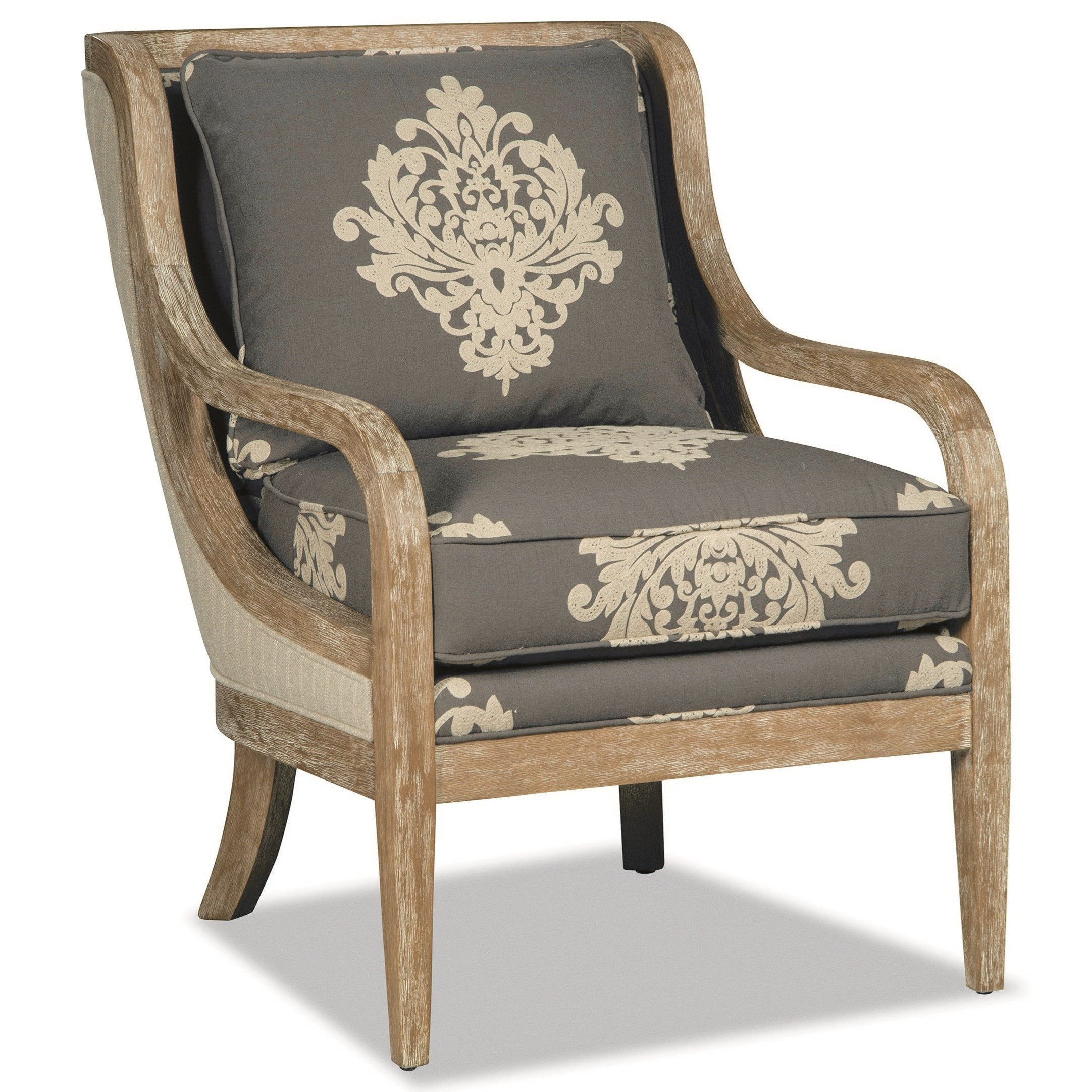 Wood Accent Chair Accent Chair With Exposed Wood Trim In Weathered Oak By