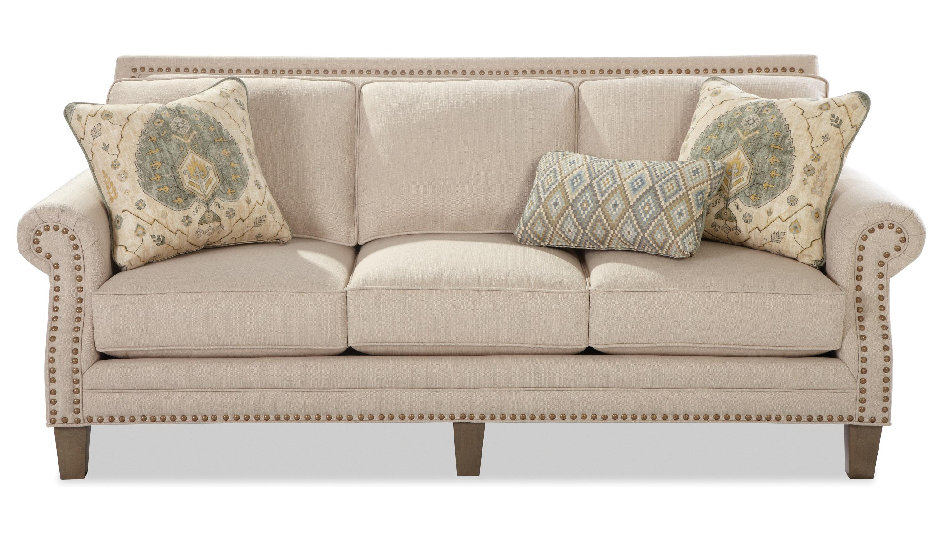 sofa nailhead abbyson living marquee white convertible transitional with brass nailheads by craftmaster