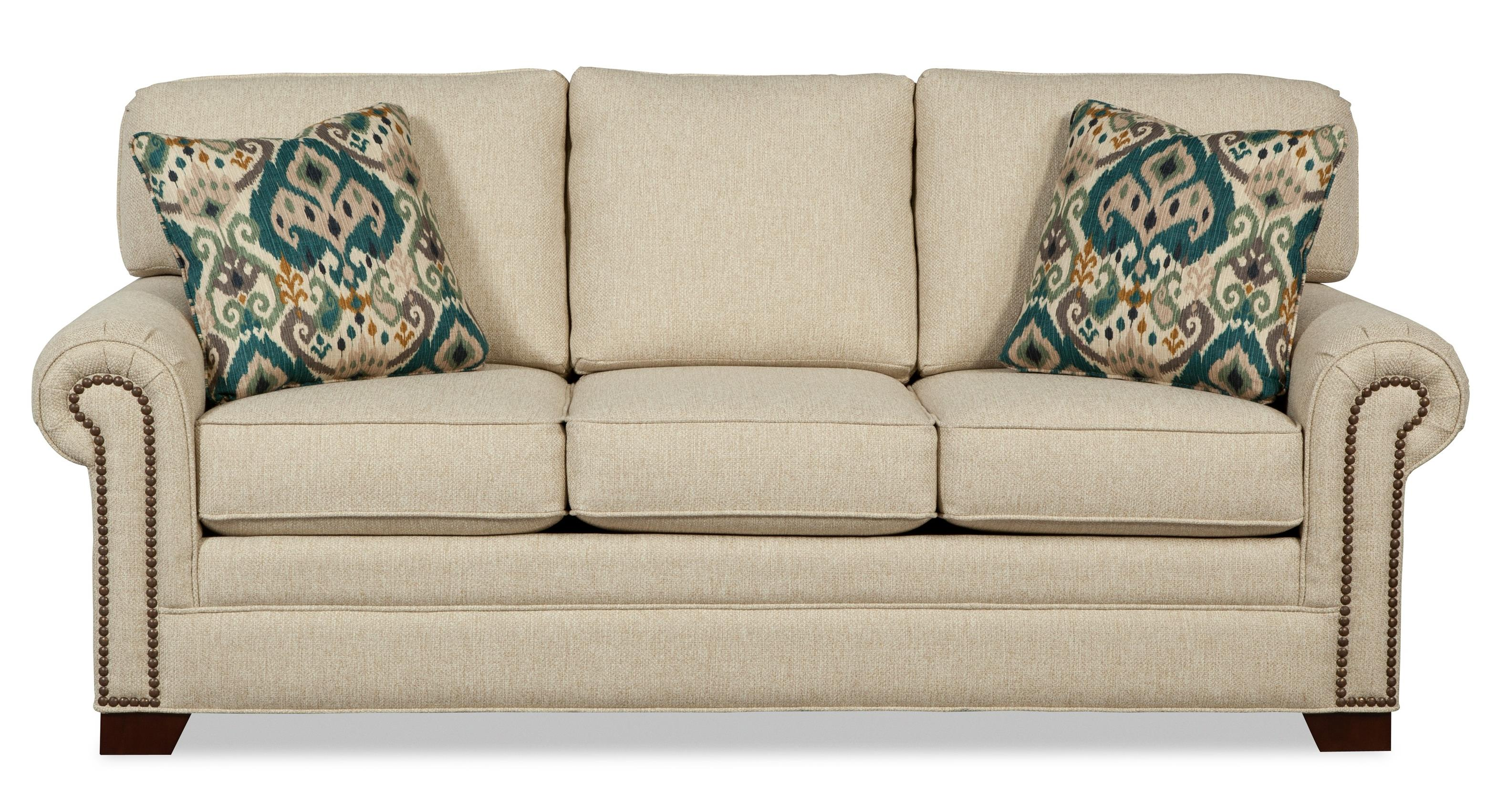 sofa nailhead whittemore sherrill leather transitional with large rolled arms and brass
