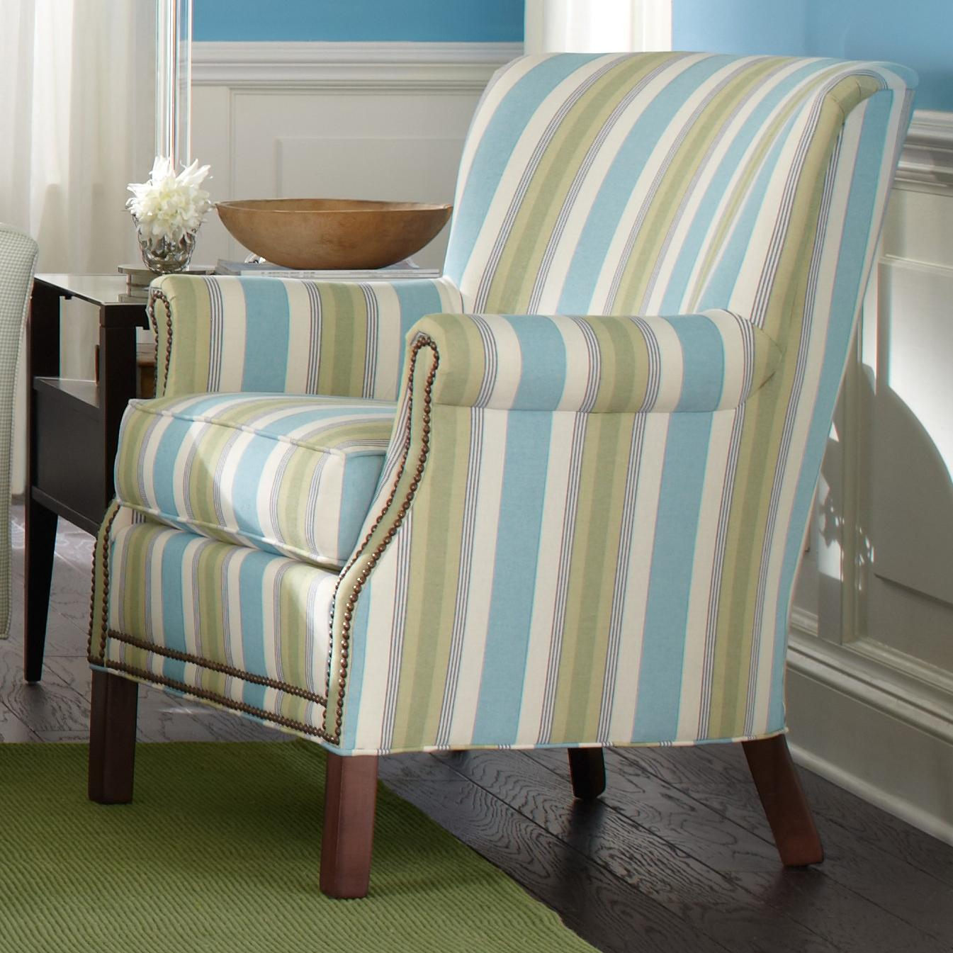 transitional accent chairs office chair covers for sale rolled arm with nailhead trim by
