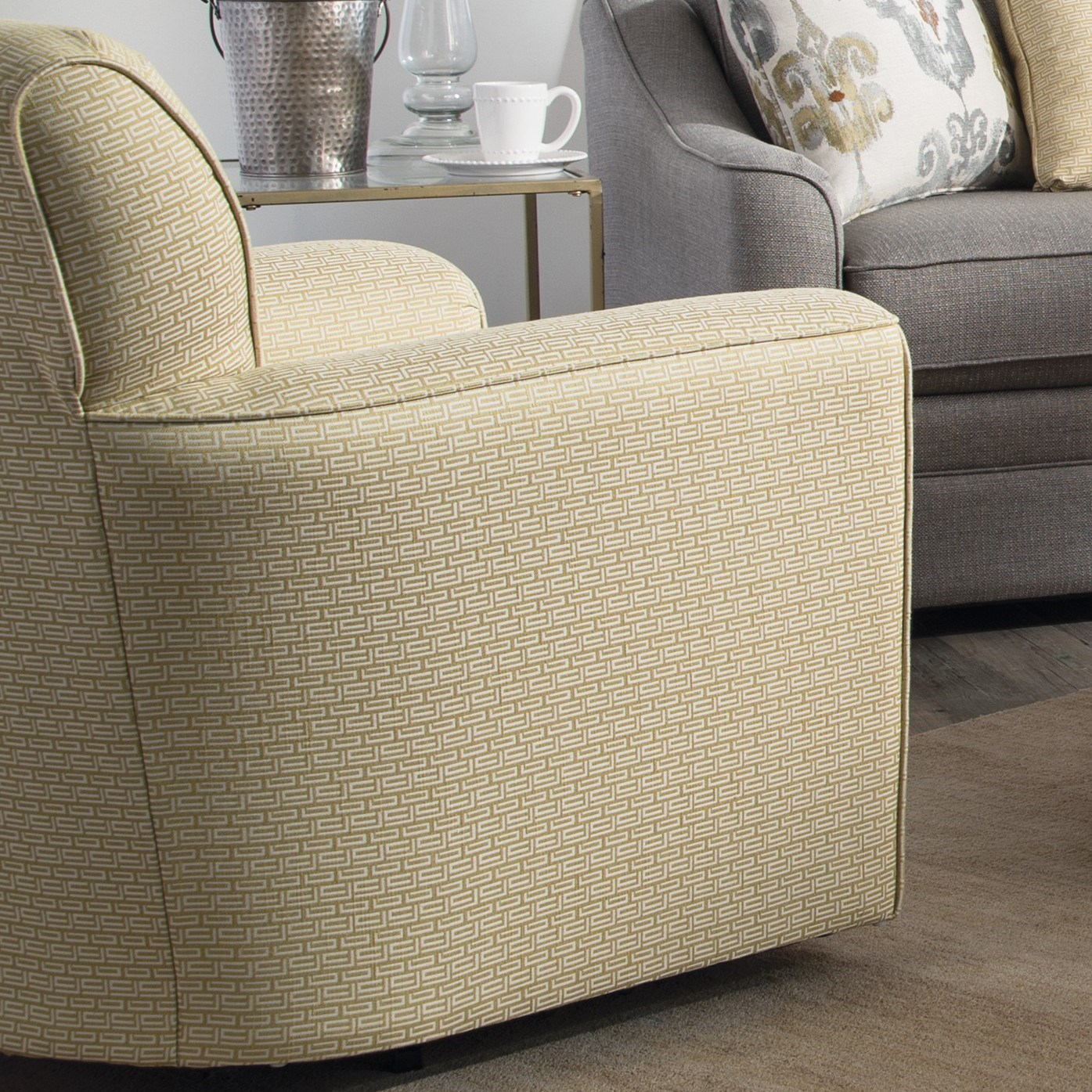 Upholstered Accent Chairs With Arms Contemporary Upholstered Swivel Chair With Flared Arms And