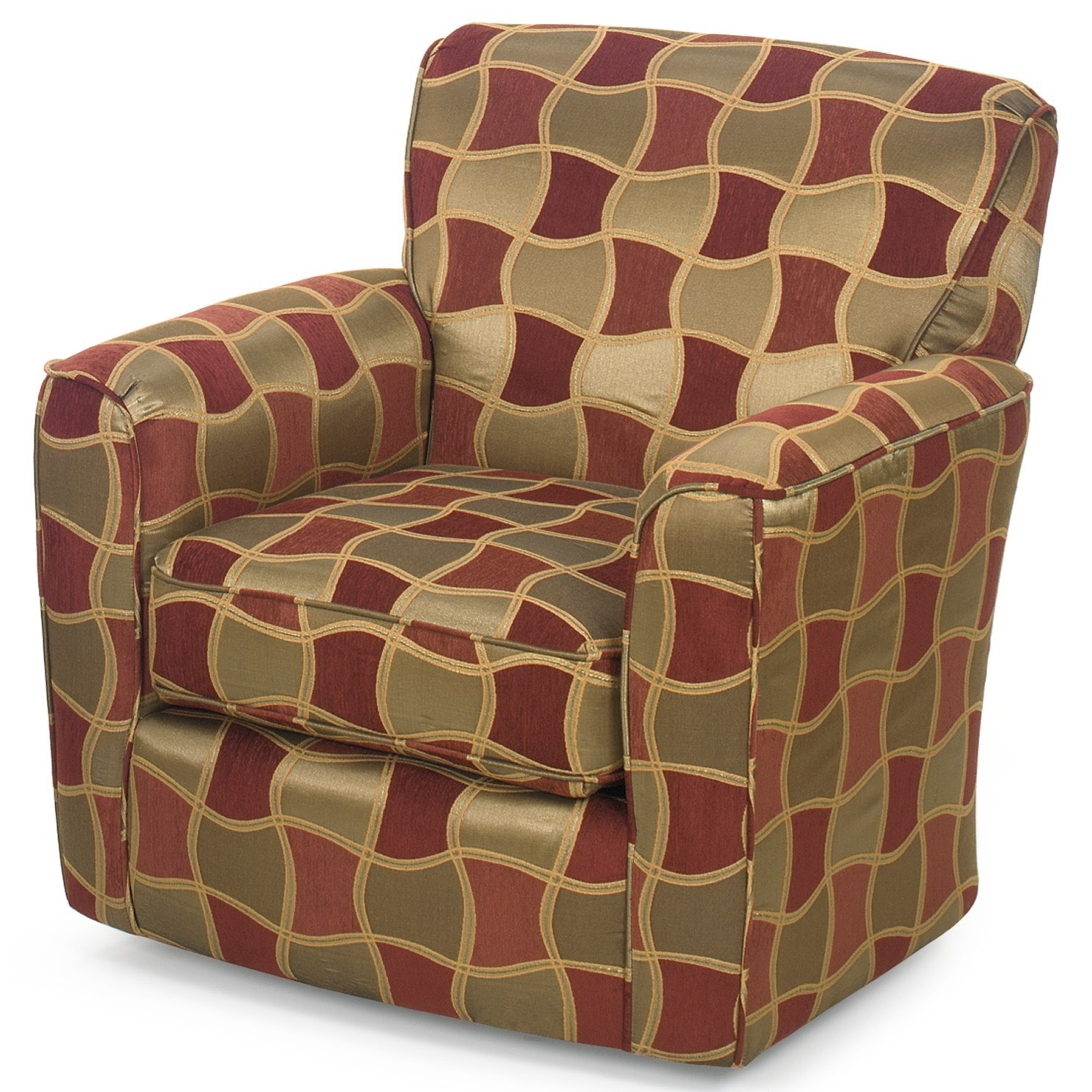 upholstered swivel chair red salon chairs contemporary with flared arms and