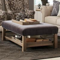 Contemporary Storage Bench Ottoman with Three Storage