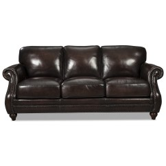 Traditional Leather Sectional Sofas Robert Michael Jackson Sofa With Rolled Arms And Nailhead