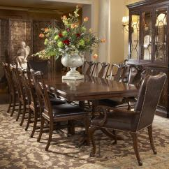 Dining Set With 8 Chairs Leather Kitchen 11 Piece Double Pedestal Table And Splat Back Side