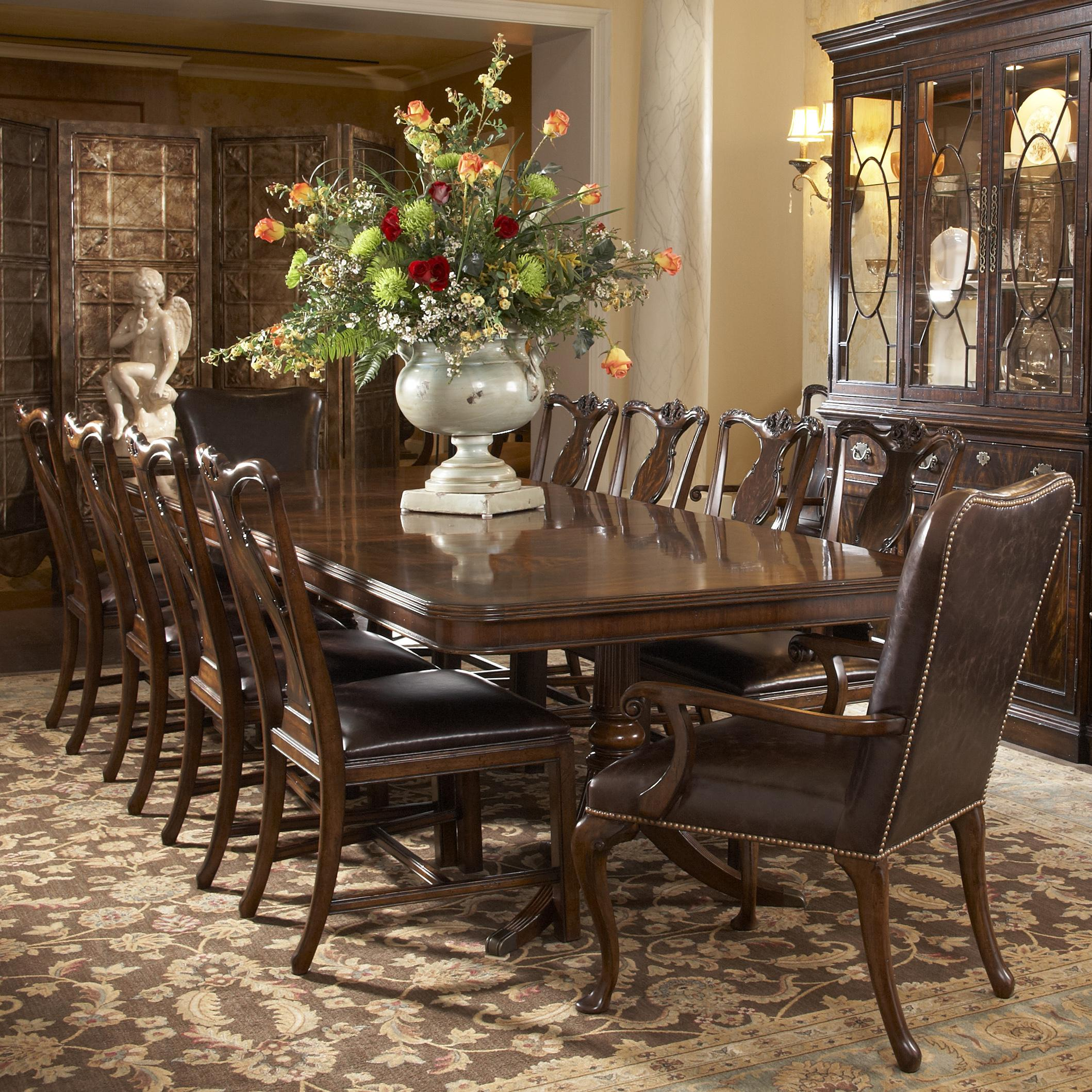 suede dining table chairs revolving chair in guwahati 11 piece double pedestal and splat back side