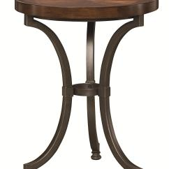 Small Round Chair Costco Office Review Chairside Table With Metal Base By Hammary Wolf