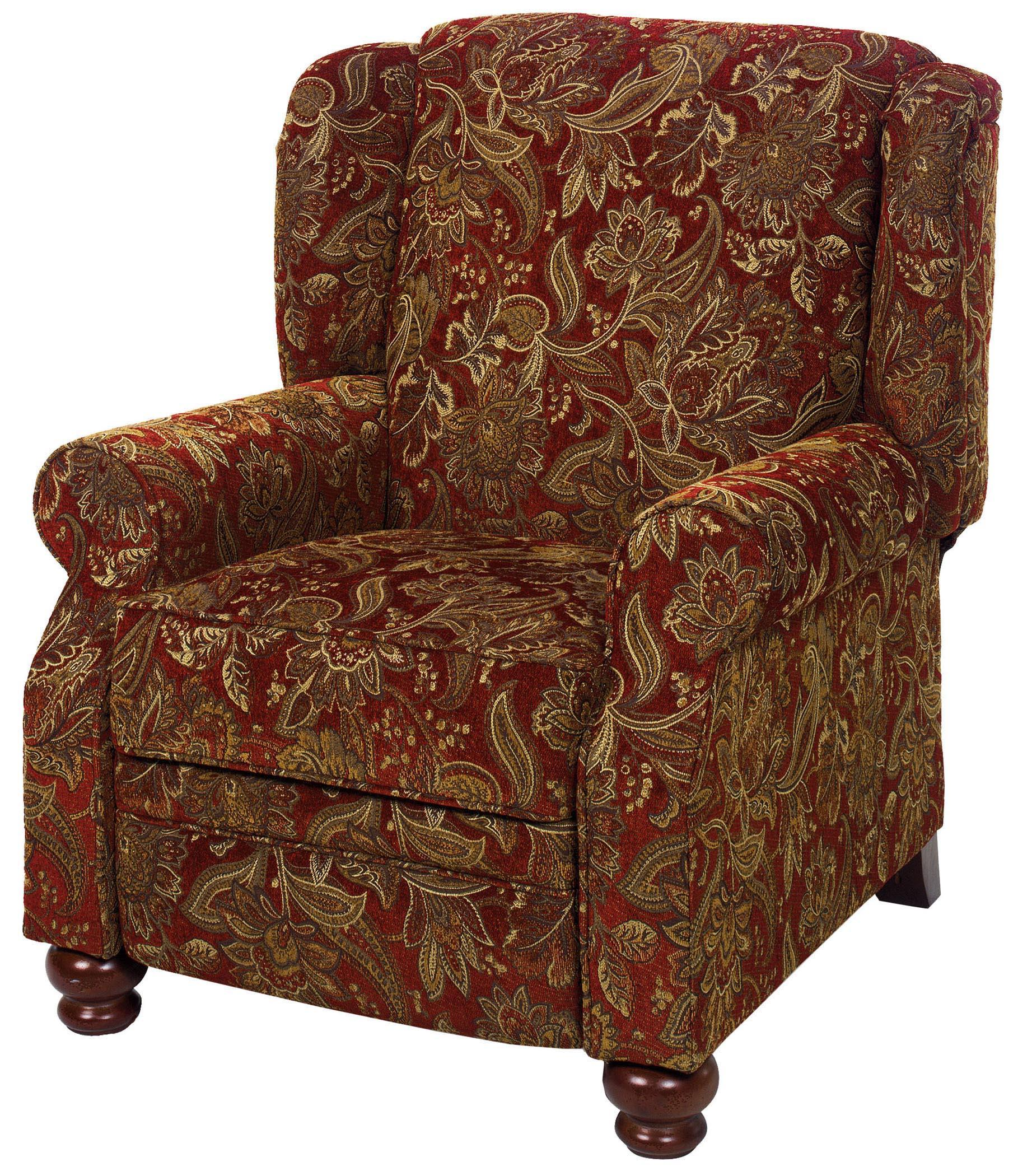 wood recliner chair playseat office traditional high leg with turned feet by