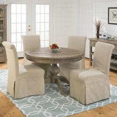 Slipcovers For Dining Room Chairs With Rounded Backs Desk Chair Grey Slipcover And Round Table Set By Jofran Wolf