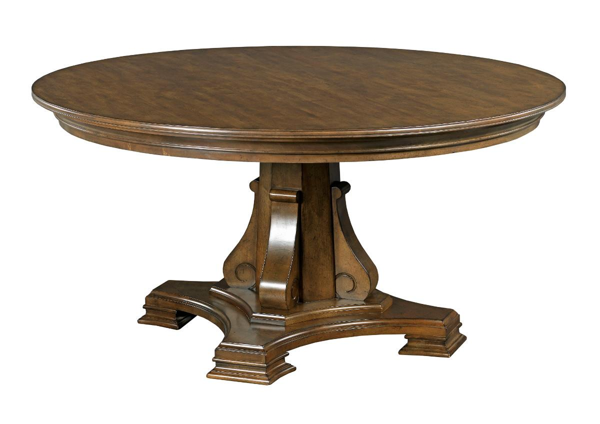 """Stellia 60"""" Round Solid Wood Dining Table With Carved Wood"""