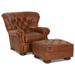 Oversized Chair And Ottoman Set Sling Lounge Tufted Leather By Klaussner Wolf