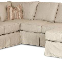 Left Chaise Sofa Sectional Slipcover Chicago Sofar Sounds Slip Cover With Right By Klaussner
