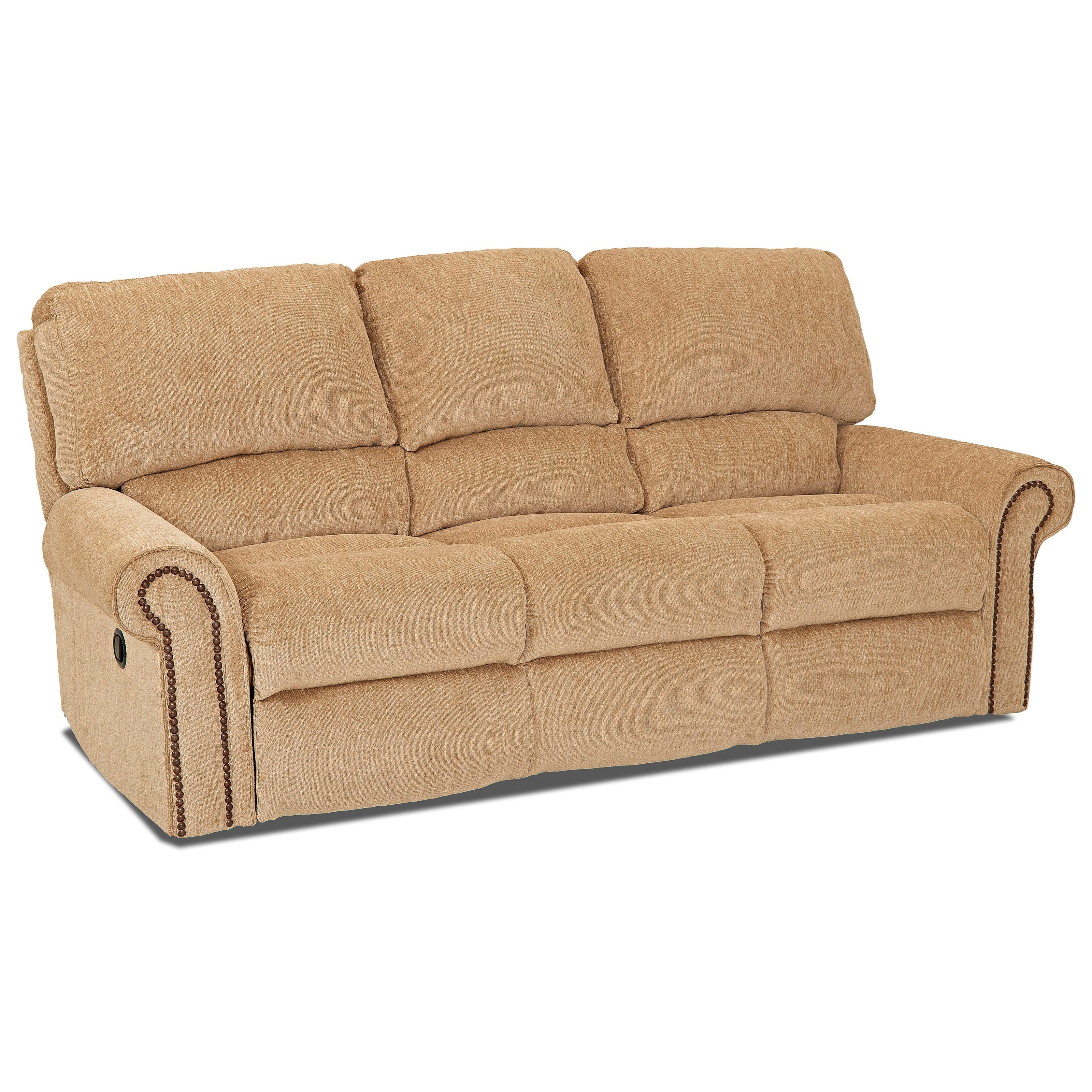 rolled arm sofa nz leather sets made in usa reclining with arms and nailheads by klaussner
