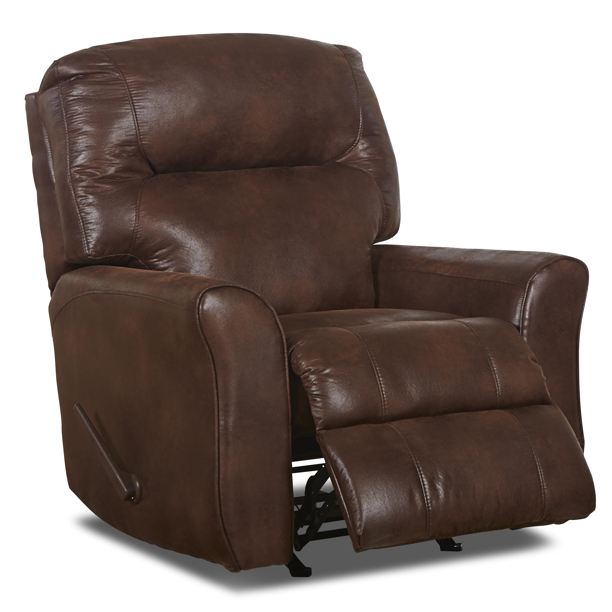 Recliner Rocking Chair Casual Leather Reclining Rocking Chair With Attached Back