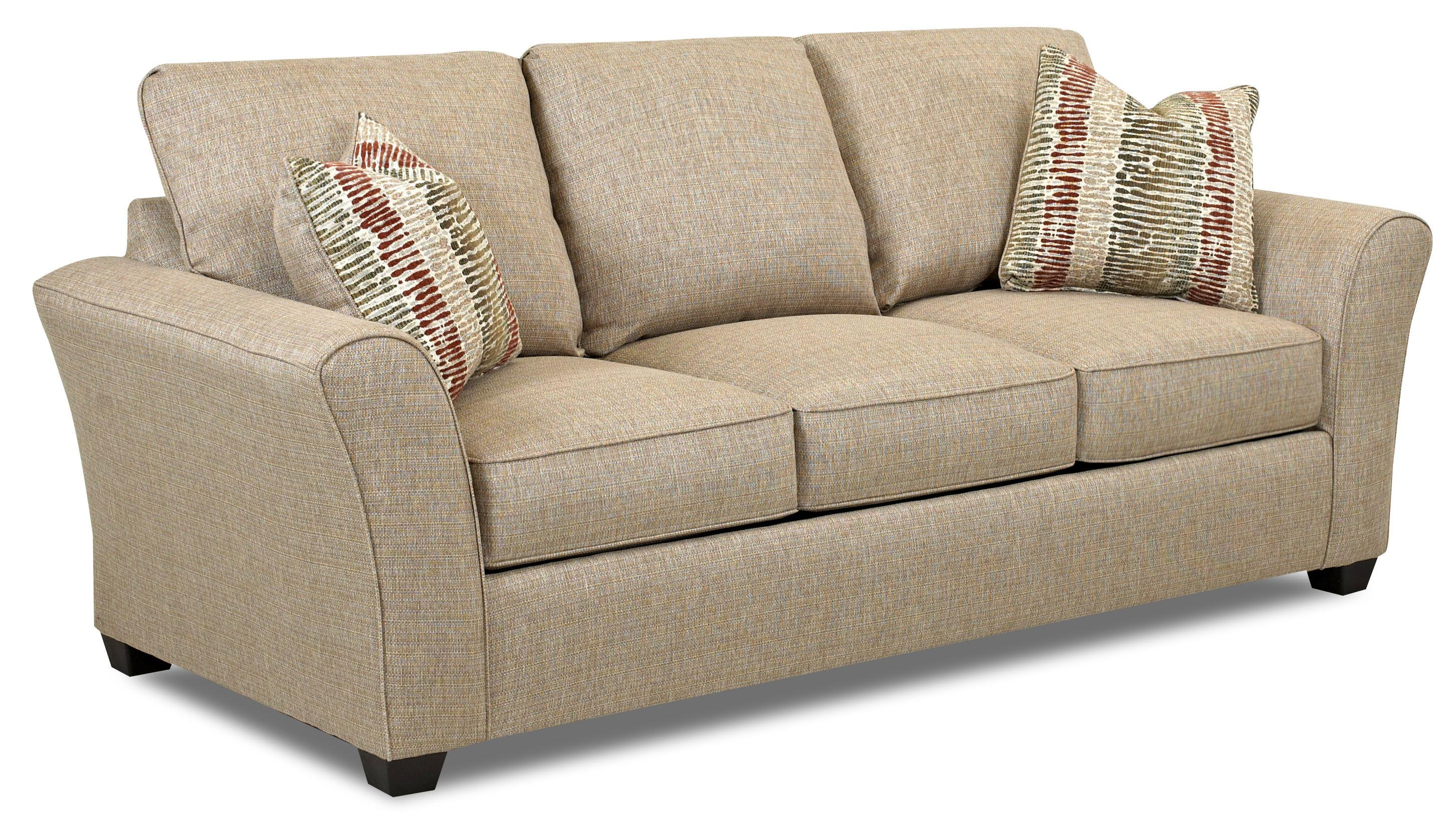 queen sofa bed no arms kmart leather transitional with flared by klaussner wolf and