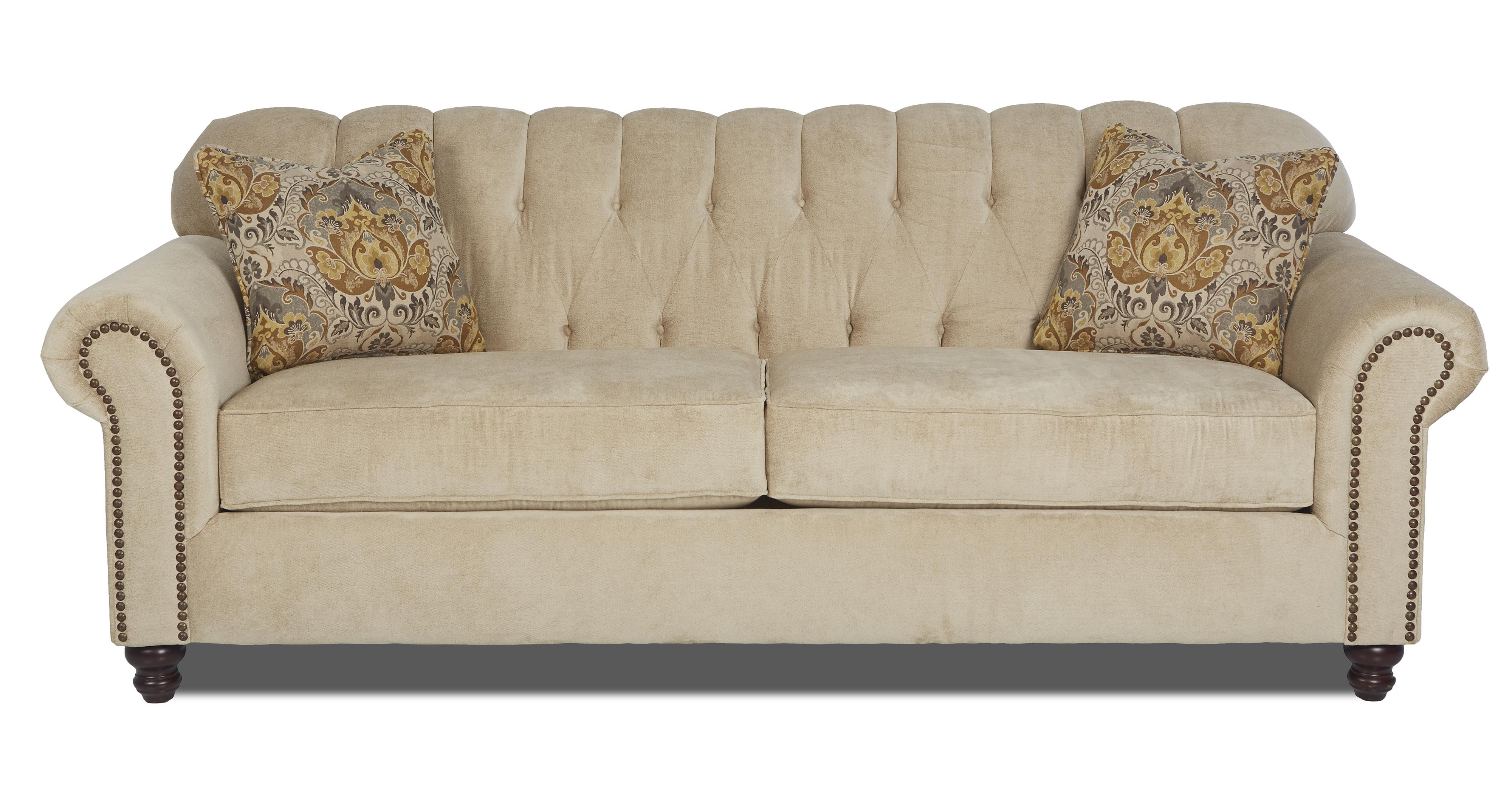 rolled arm sofa with nailhead trim country style covers traditional stationary arms and