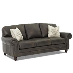 Accent Sofa Western Leather With Pillows By Klaussner Wolf And