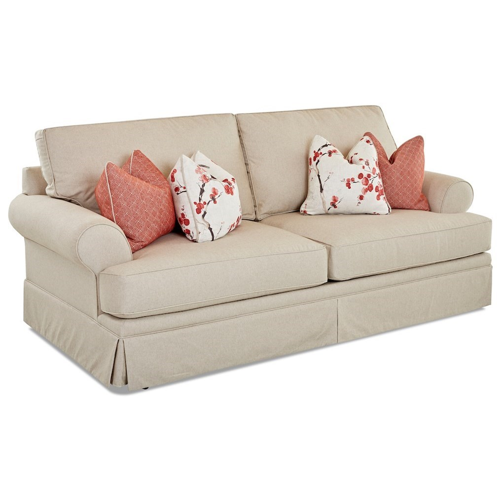 queen sofa bed no arms ashley furniture hariston casual air coil mattress sleeper by klaussner