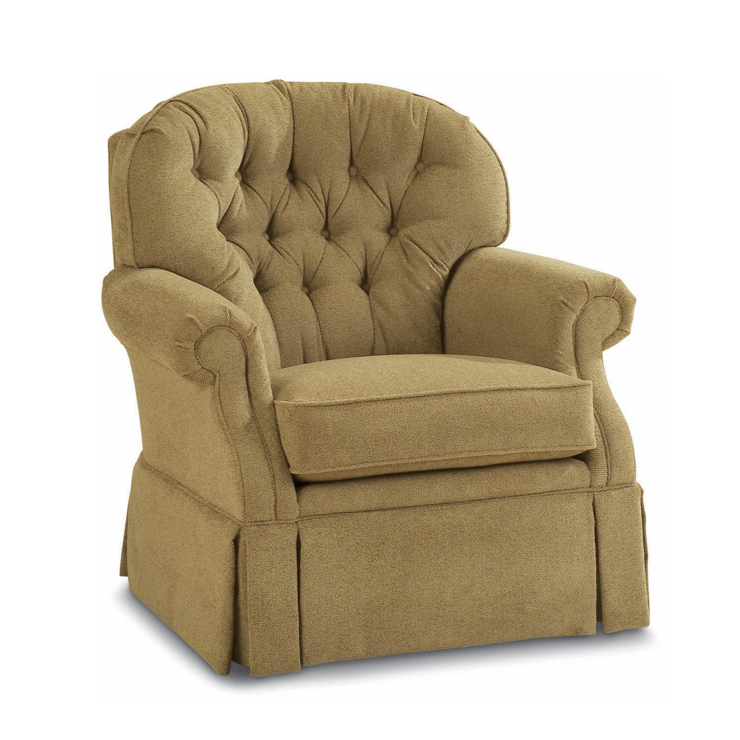 Lazy Boy Swivel Chair Traditional Swivel Rocker With Tufted Back And Kick Pleat