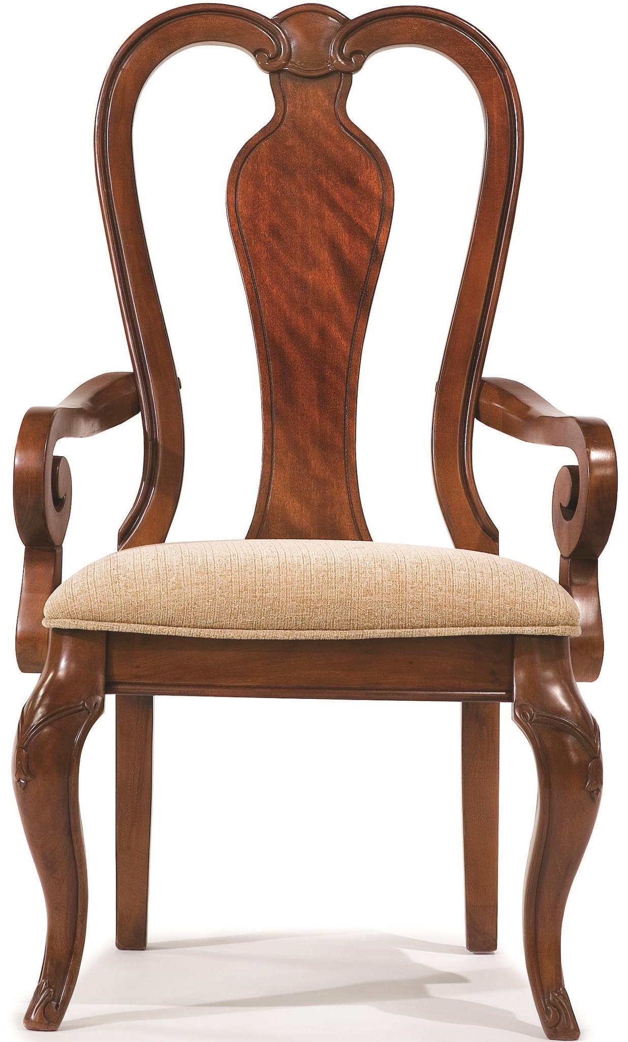 Queen Chairs Queen Anne Arm Chair With Upholstered Seat By Legacy