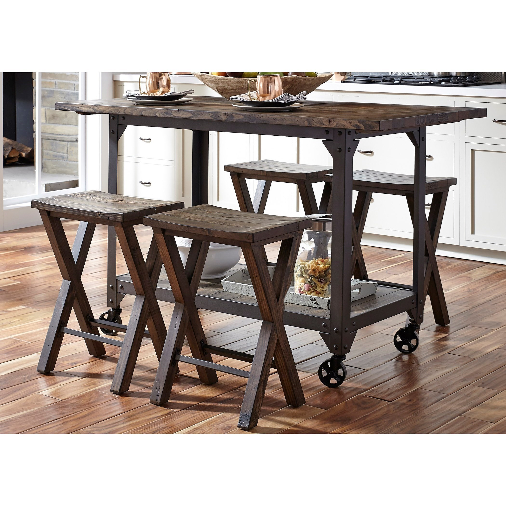 counter height kitchen island mexican style industrial and stool set by