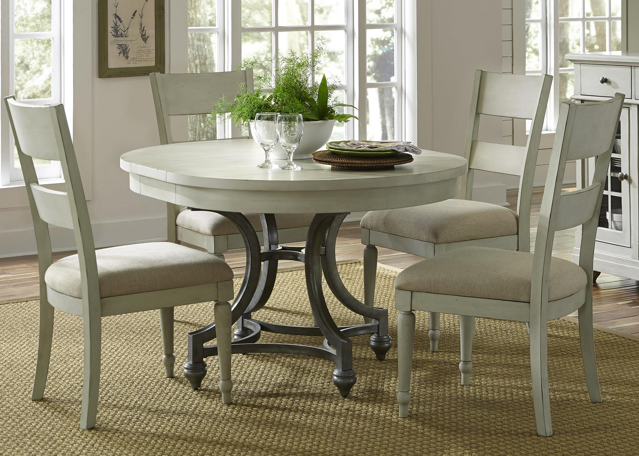 round table with chairs boling chair company 4 slat back set by liberty