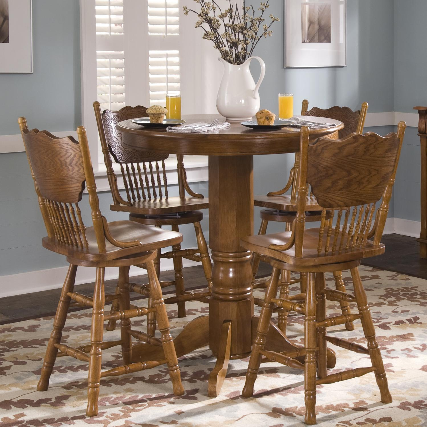 pub table with chairs and bench chair cover sale sg round oak by liberty furniture wolf