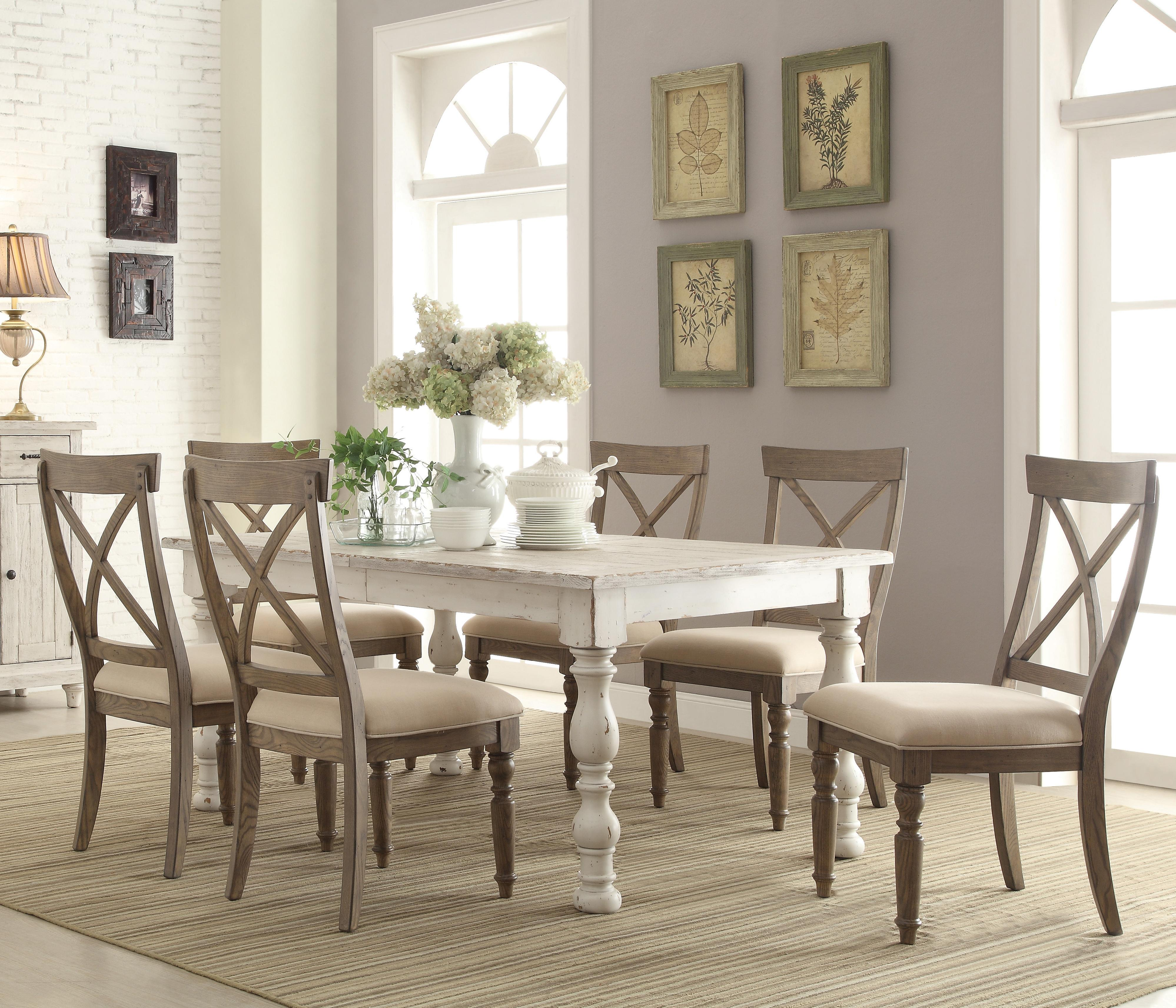 Farmhouse Dining Chairs 7 Piece Farmhouse Dining Set By Riverside Furniture Wolf
