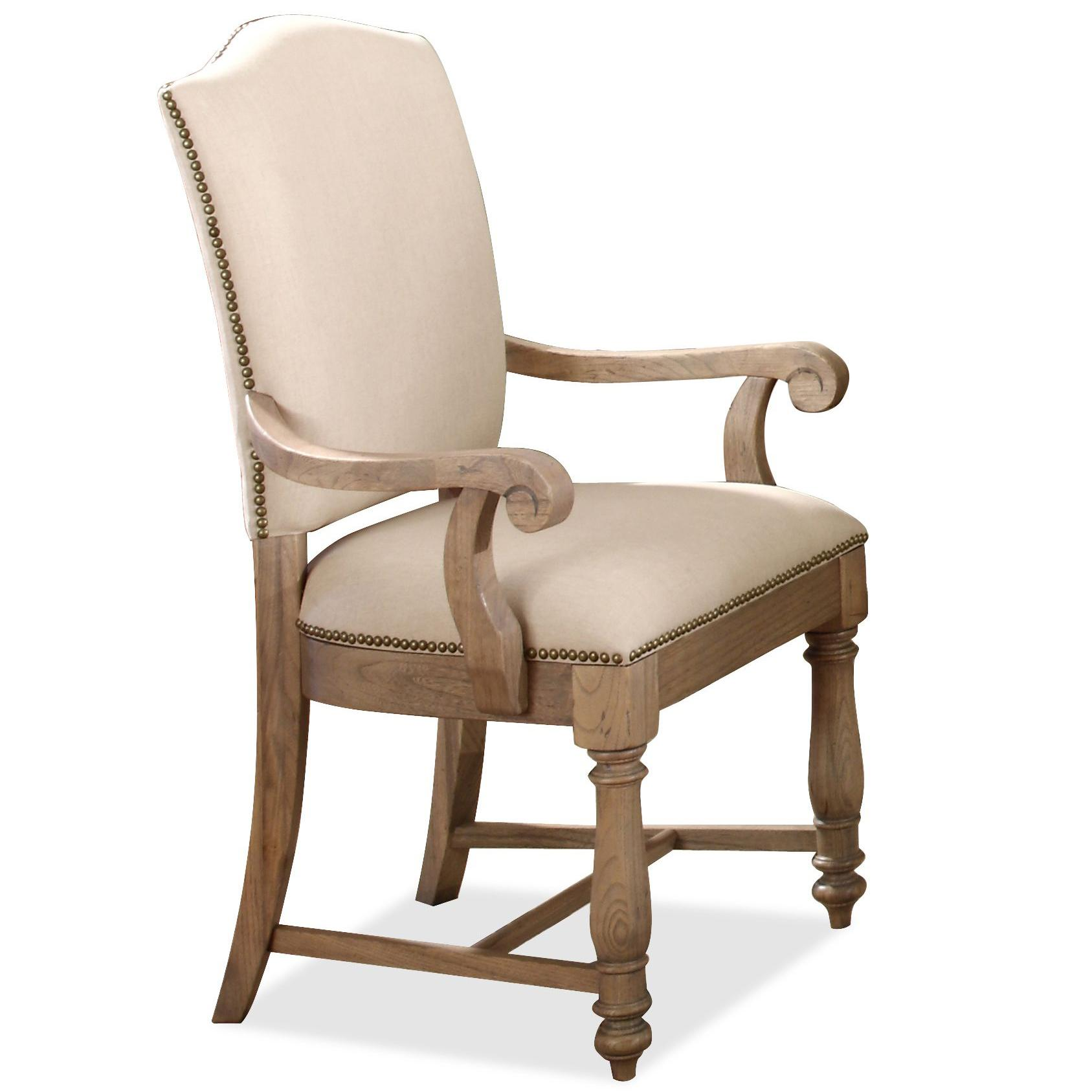 Upholstered Accent Chairs With Arms Upholstered Arm Chair With Hammered Nail Head Trim By