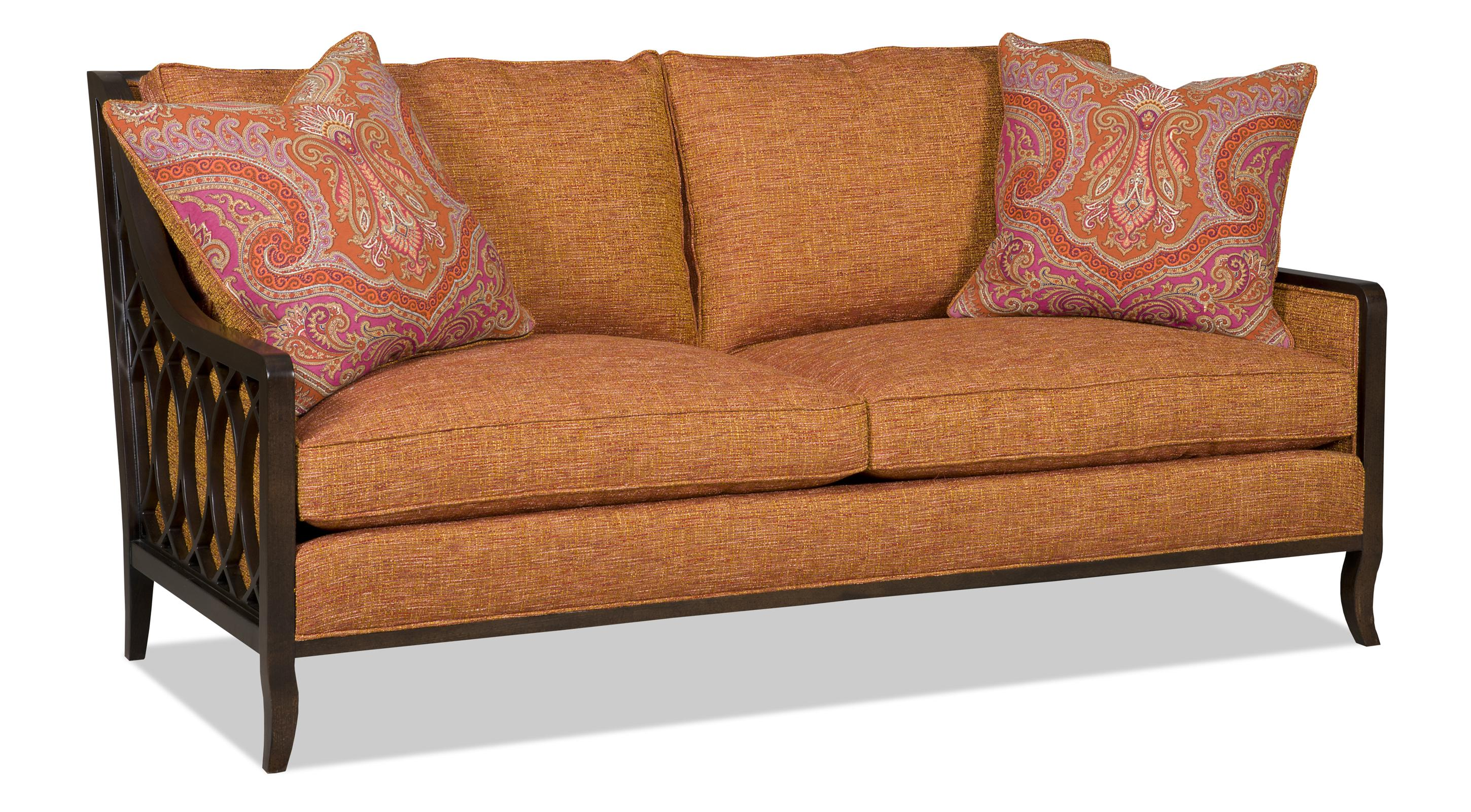 sofa wood frame exposed uk leather online australia two over with lattice arms by sam