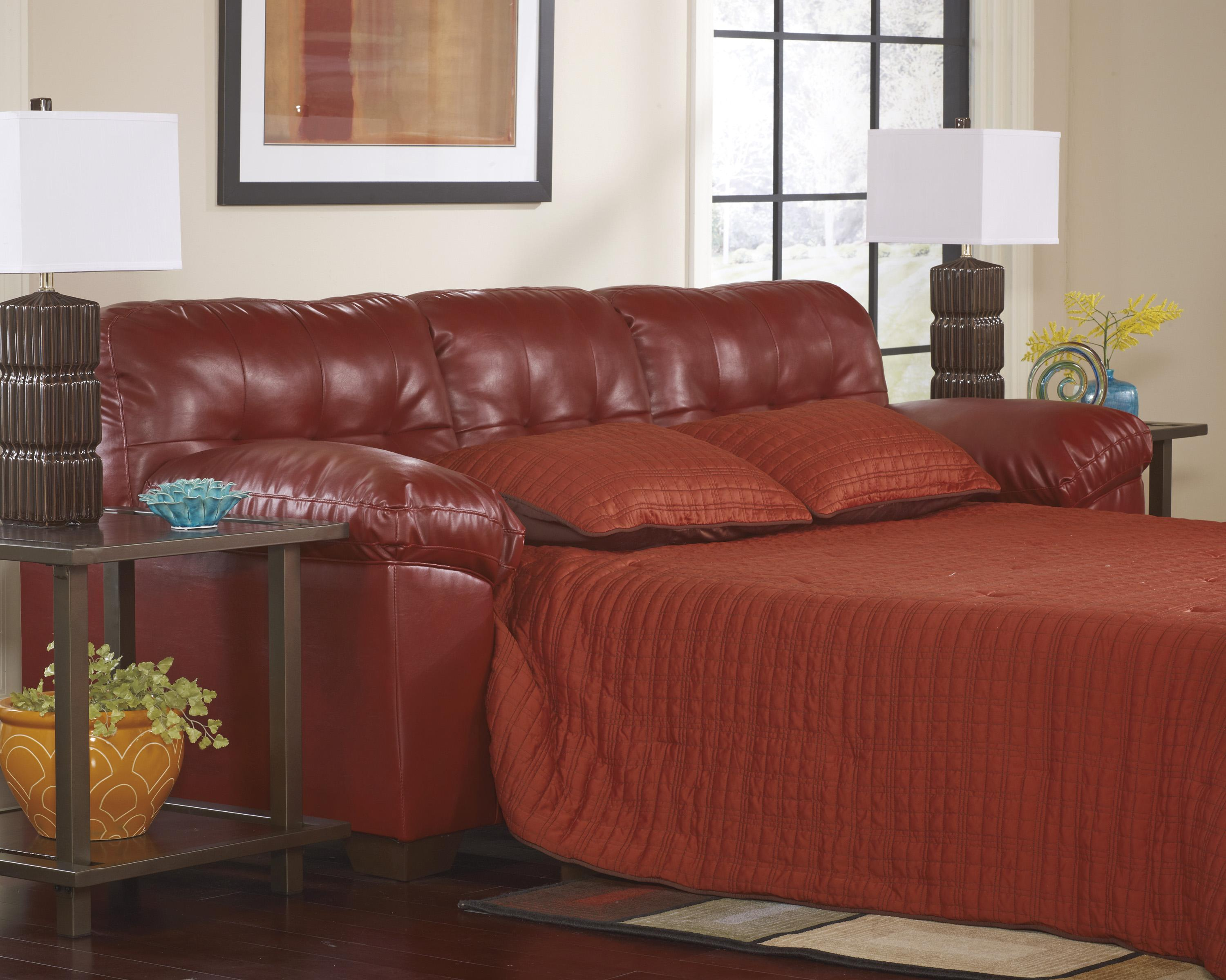 leather sectional sleeper sofa queen modern covers faux w tufting by signature