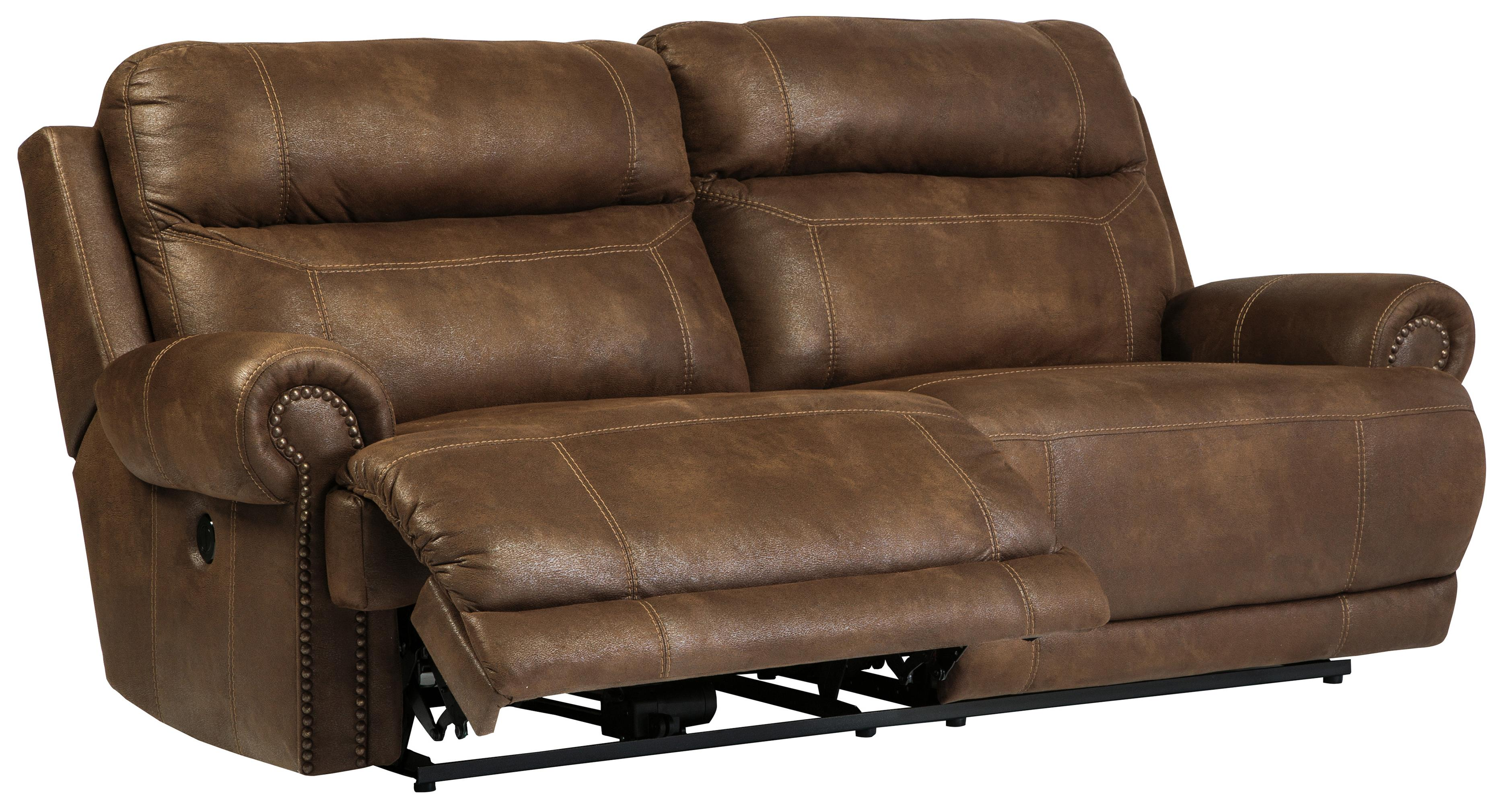 rolled arm sofa with nailhead trim leather ling off repair 2 seat reclining power arms