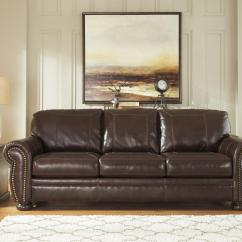 Nailhead Trim Sofa Ashley Feather Stuffing For Cushions Traditional Leather Match With Rolled Arms