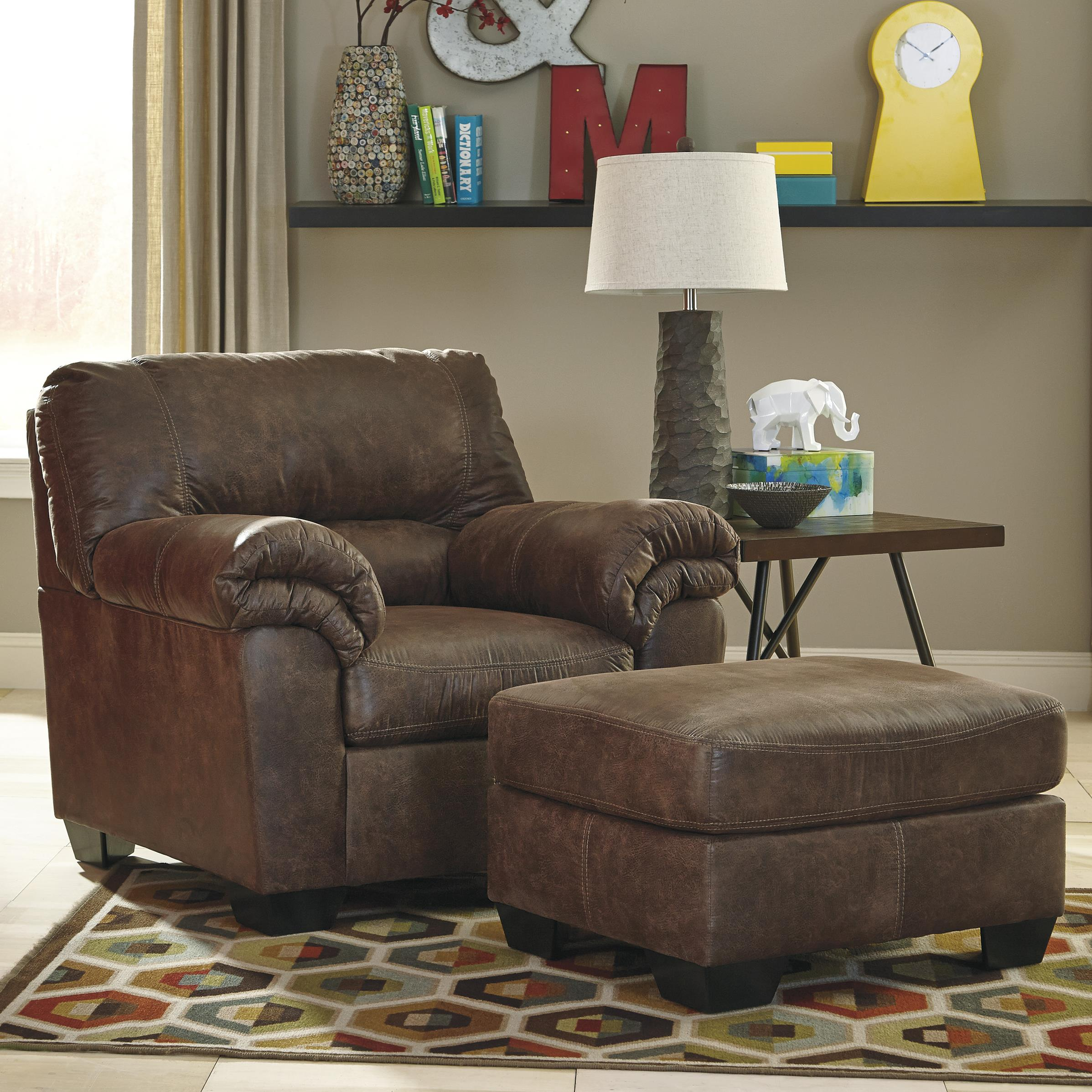 Faux Leather Chair Casual Faux Leather Chair And Ottoman By Signature Design By