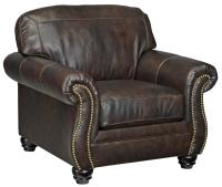 Traditional Leather Match Chair with Rolled Arms