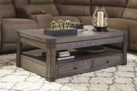 Elm Veneer Rectangular Lift Top Cocktail Table in Grayish ...