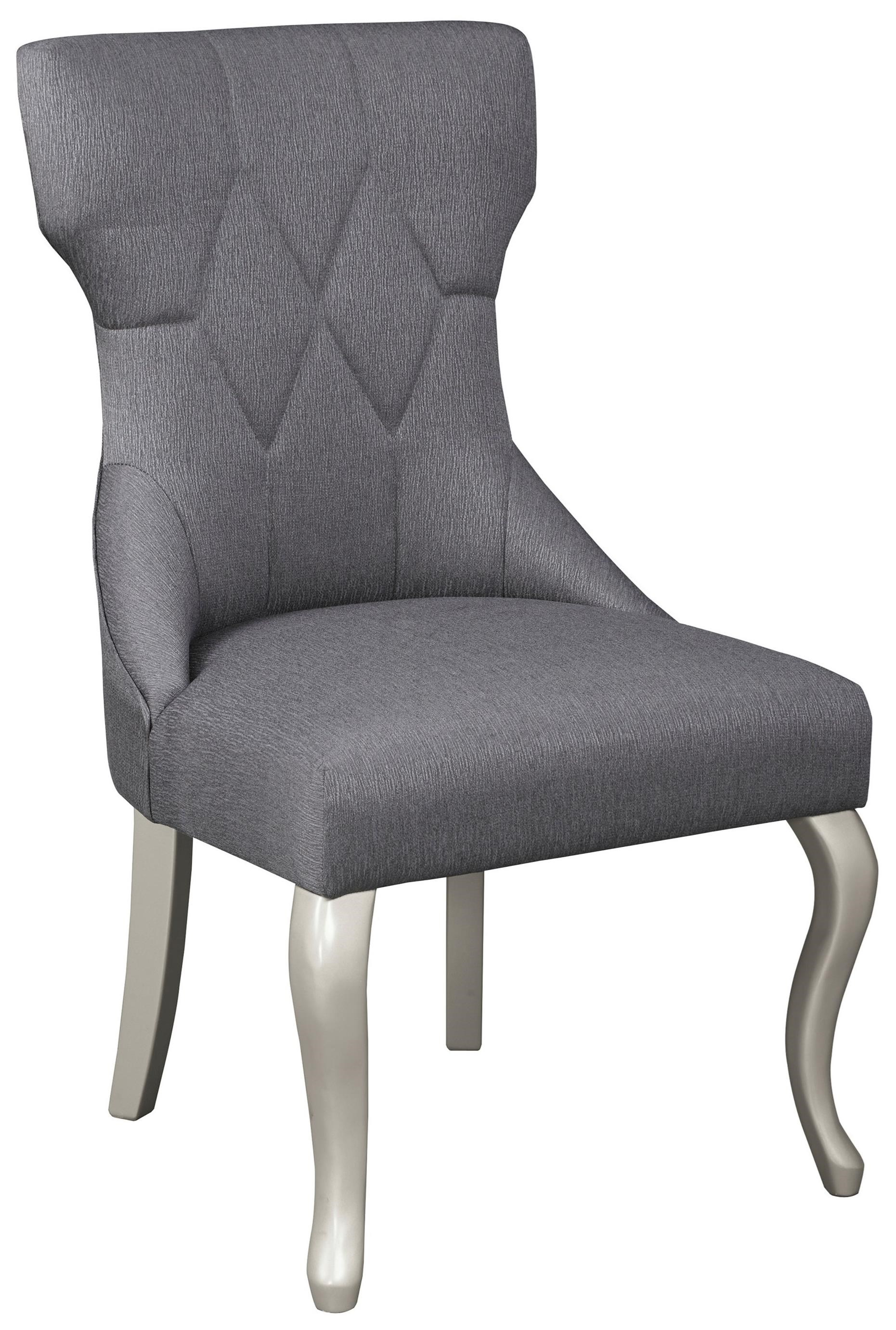 grey upholstered chair white legs black banquet covers for sale dining side with silver finish by