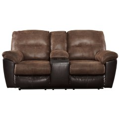 Double Reclining Leather Sofa Sloane Two Tone Faux Loveseat W Console