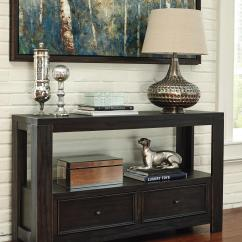 Ashley Sofa Tables Bay Window Seating Rustic Distressed Black Table With 2 Drawers By