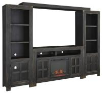 Entertainment Wall Unit w/ Large TV Stand, Fireplace ...