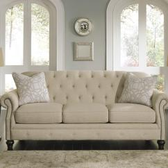 California Sofa Mfg High Arm Bed Traditional With Tufted Back And Feather Blend Accent