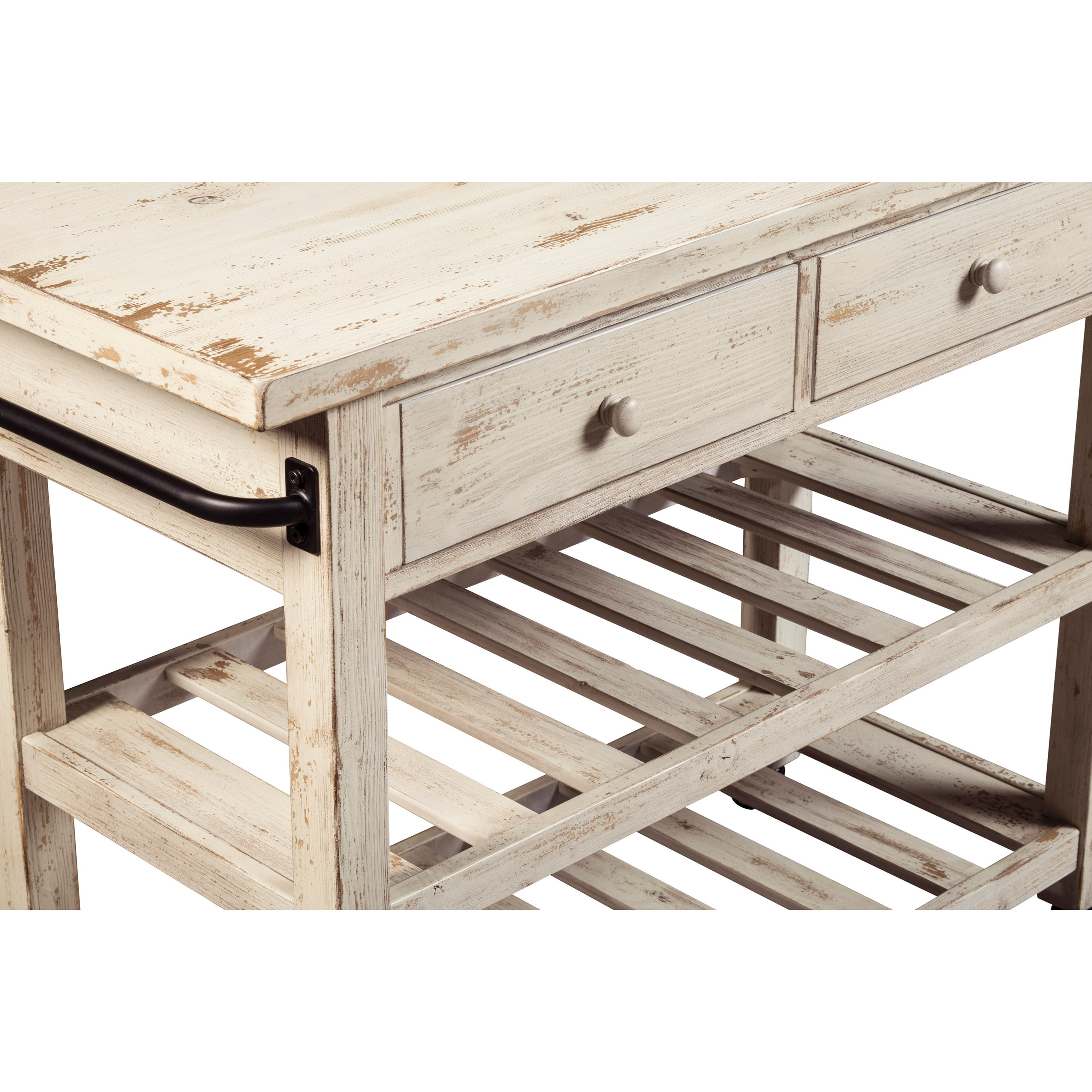 ashley furniture kitchen island diy bench with storage distressed white finish cart locking casters