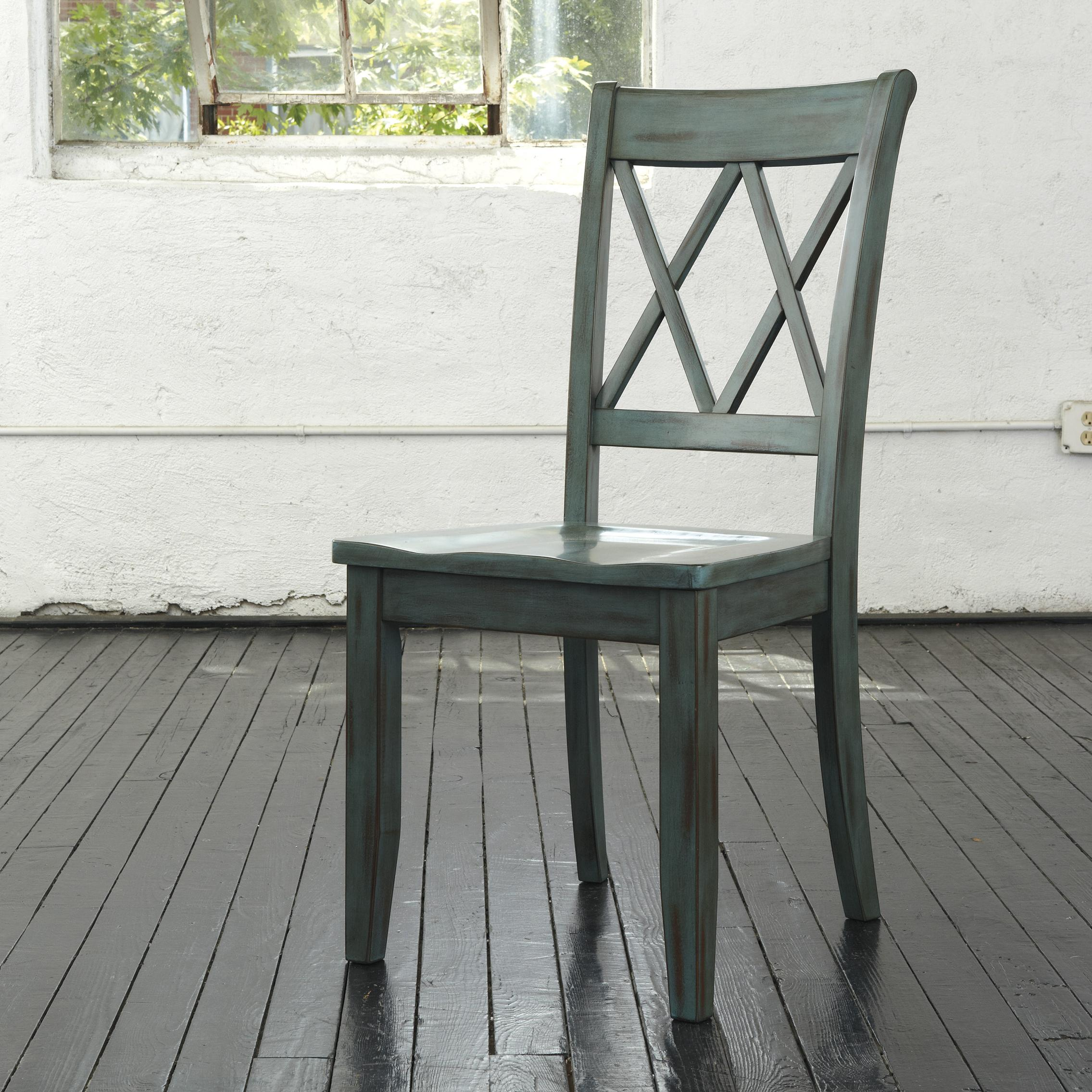 green dining room chairs beach for heavy person antique blue side chair by signature